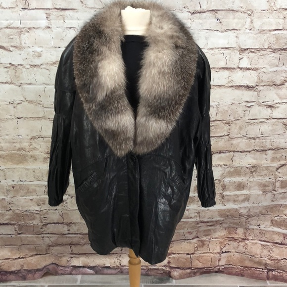 5bebf583f Black Textured Leather Jacket with Fox Collar